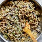 Creamy Mushroom Risotto in pan| foodiecrush.com