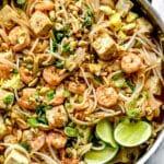 Pad Thai in pan foodiecrush.com