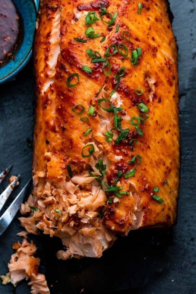 Plank Grilled Salmon With Honey Chipotle Glazefrom Kitchen Confidante on foodiecrush.com