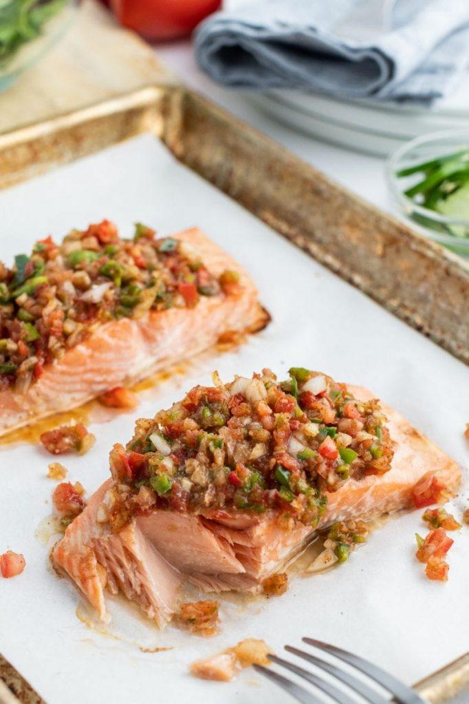 Salsa Roasted Salmonfrom Recipe Girl on foodiecrush.com
