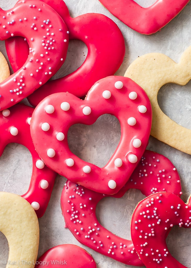 Valentine's Day Heart Shortbread Cookies from Loopy Whisk on foodiecrush.com
