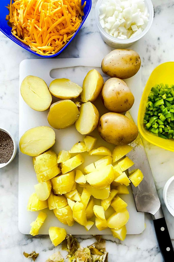 Diced potatoes for Cheesy Potatoes ingredients foodiecrush.com