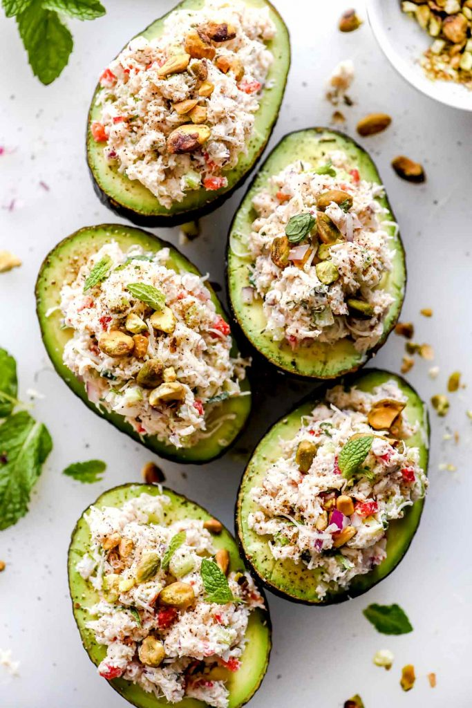 Crab Salad Stuffed Avocados foodiecrush.com