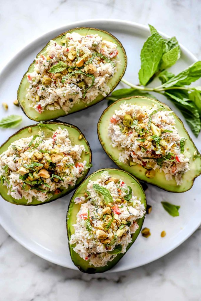 Crab Salad Stuffed Avocados on plate foodiecrush.com