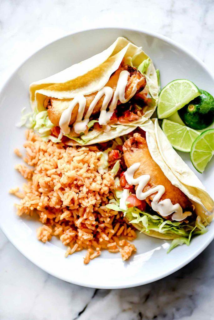 Baja Fish Tacos on plate foodiecrush.com