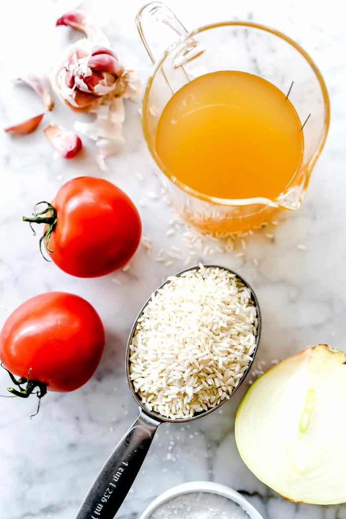 Ingredients in blender Spanish Rice Mexican Rice | foodiecrush.com