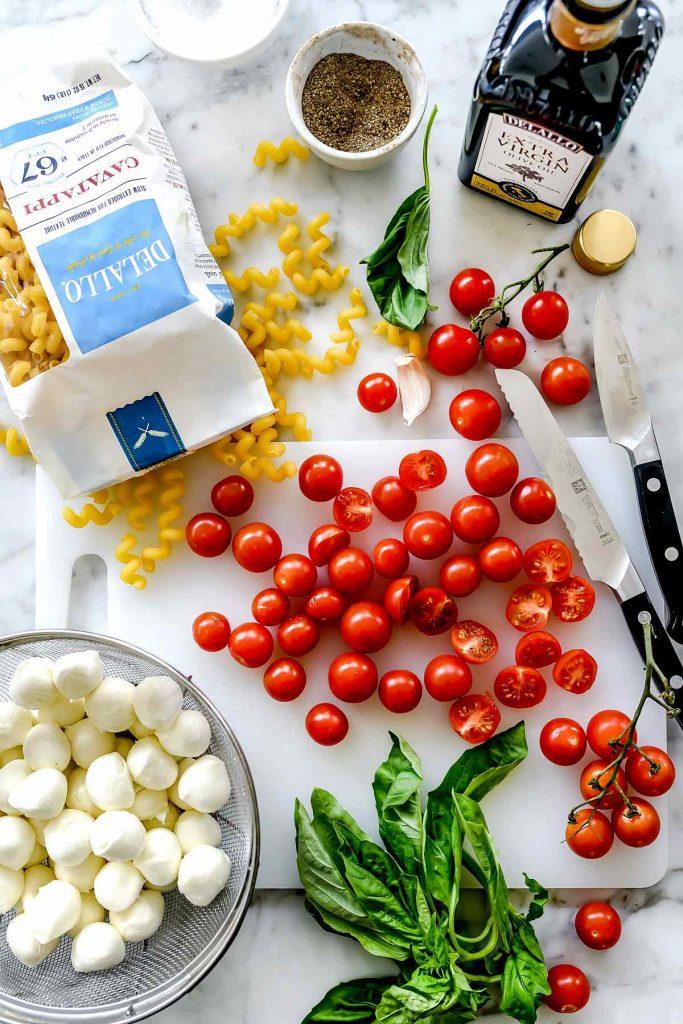 Caprese Pasta Salad Ingredients foodiecrush.com