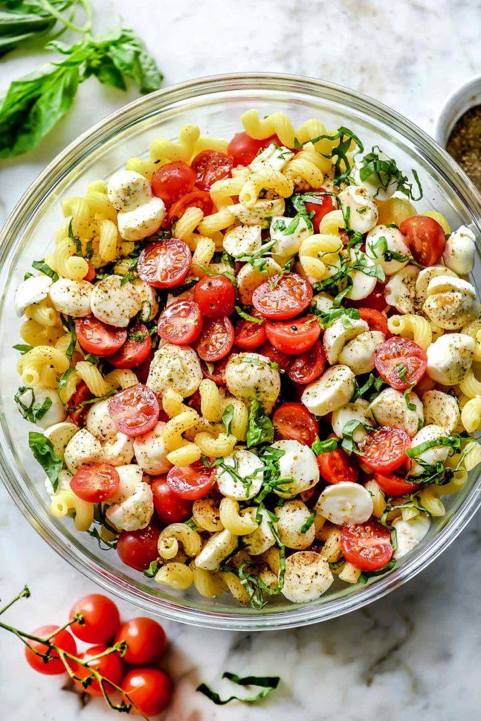 Easy Caprese Pasta Salad in bowl foodiecrush.com