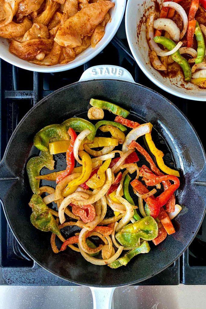 Chicken Fajitas on stove foodiecrush.com