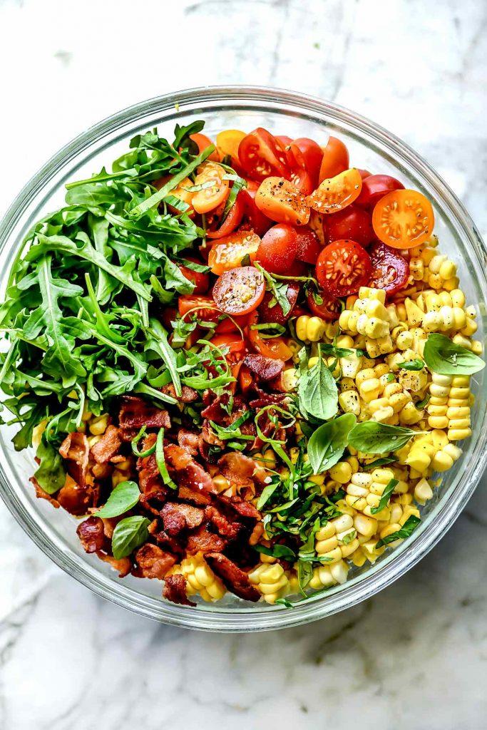BLT Corn Salad ingredients in bowl | foodiecrush.com