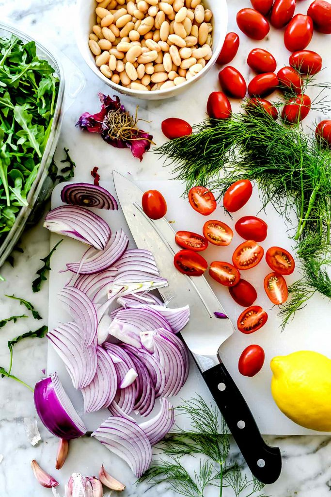 Ingredients Mediterranean Shrimp and White Bean Salad | foodiecrush.com