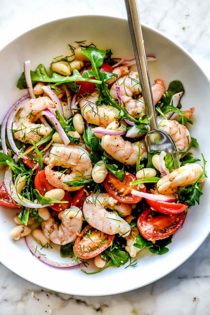 Mediterranean Shrimp and White Bean Salad | foodiecrush.com