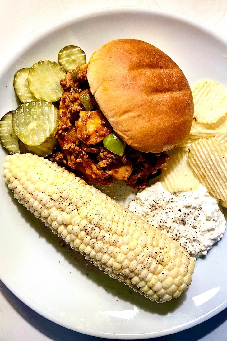 Sloppy Joes Sandwich with Grilled Corn foodiecrush.com