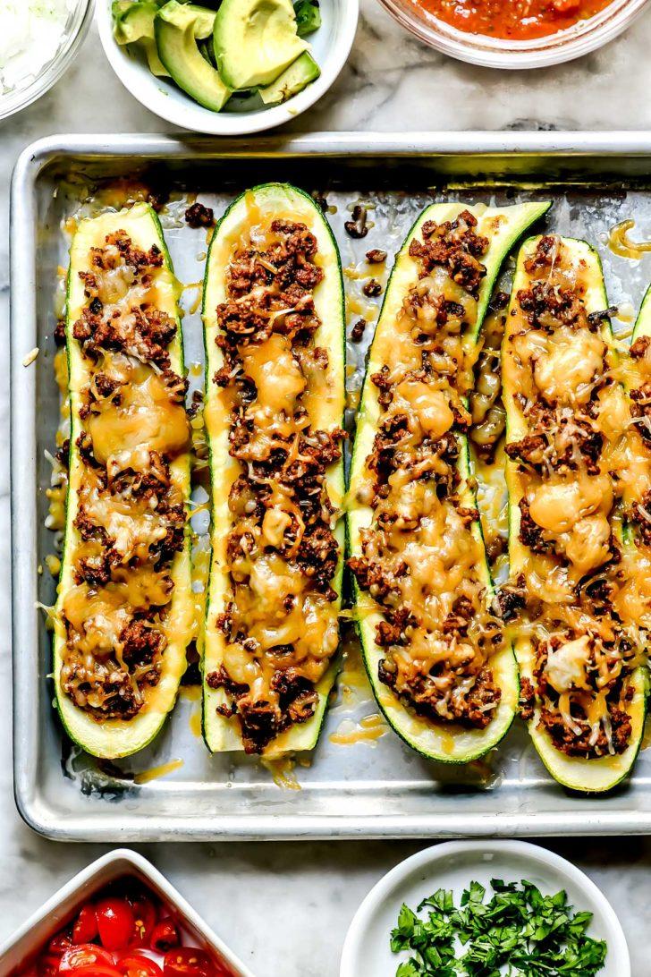 Taco Stuffed Zucchini Boats foodiecrush.com