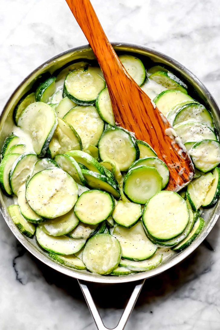 Zucchini in skillet foodiecrush.com