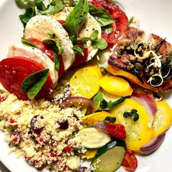 Caprese Couscous Halibut dinner on plate foodiecrush.com