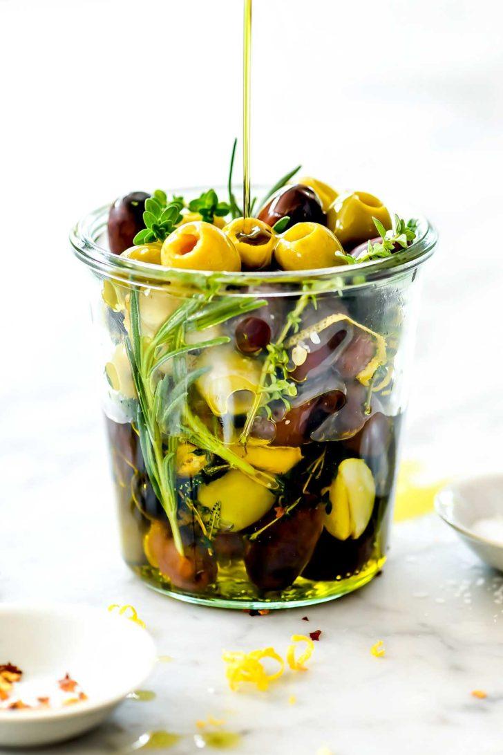 Marinated Olives in jar foodiecrush.com