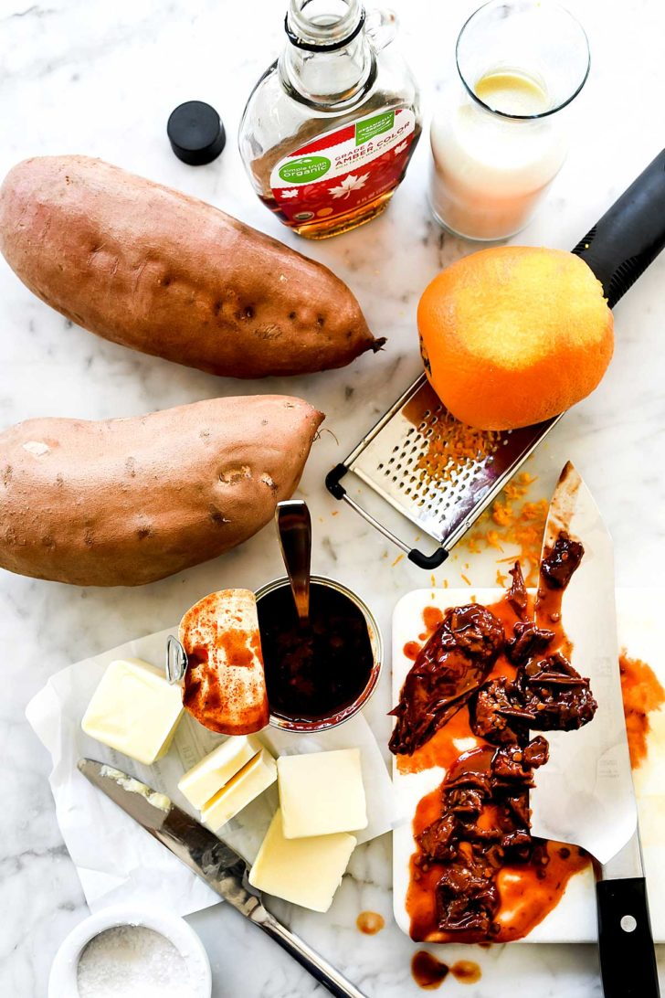Ingredients for mashed sweet potatoes with chipotle peppers foodiecrush.com