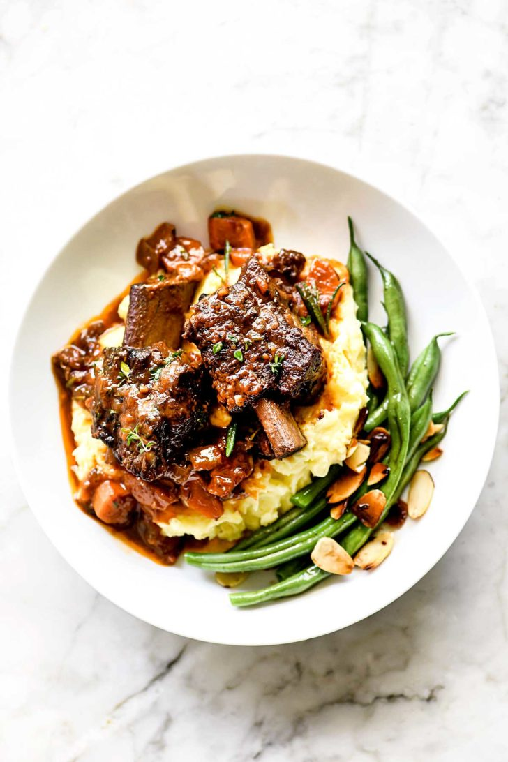 Braised Short Ribs and Mashed Potatoes in bowl foodiecrush.com