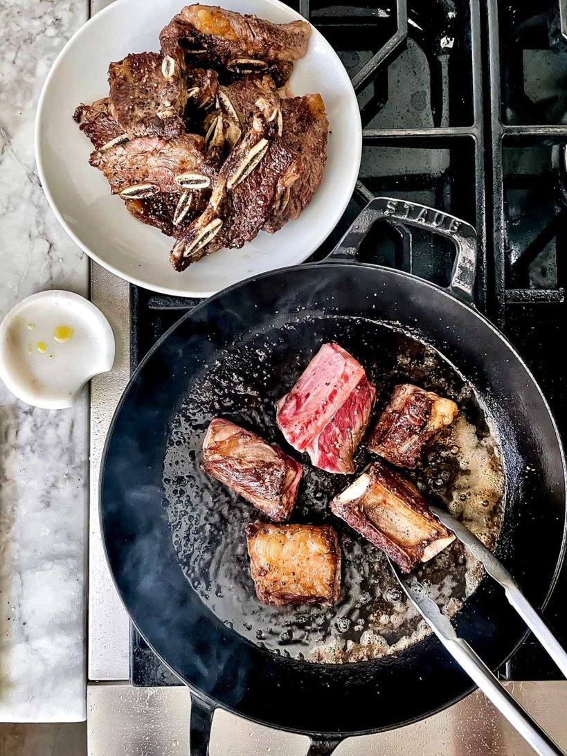Braised Short Ribs on the stove foodiecrush.com