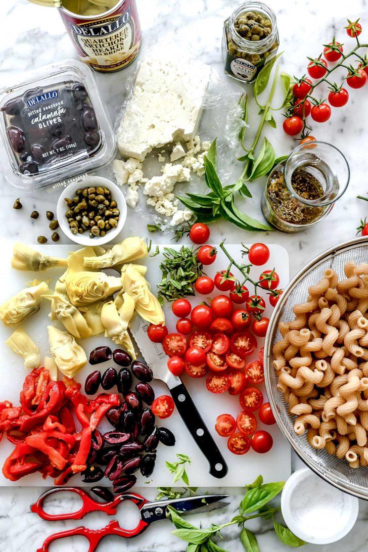 Ingredients Whole Wheat Mediterranean Pasta Salad   foodiecrush.com