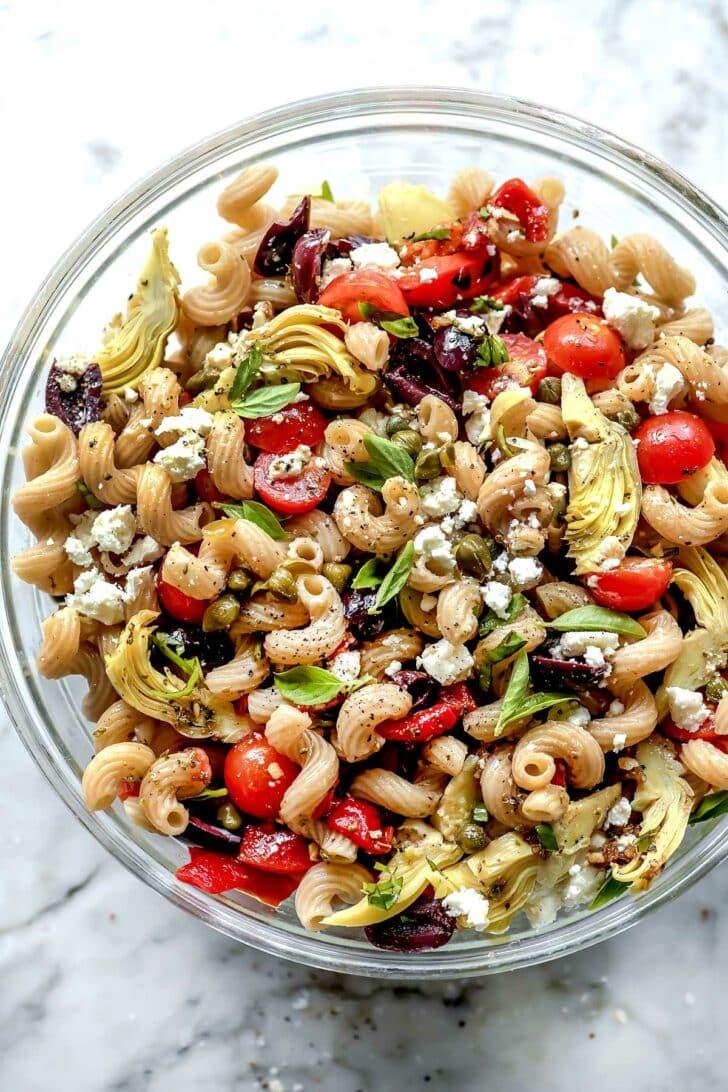 Whole Wheat Greek Pasta Salad   foodiecrush.com